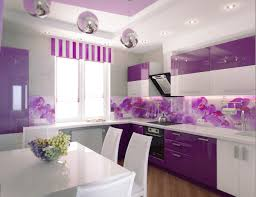 tiles backsplash purple kitchen design among pink flowers