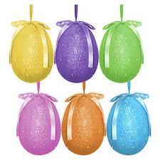glitter easter eggs pack of 6 large multicolour glitter hanging easter eggs bonnet
