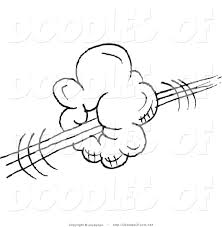 vector clipart of a coloring page of a swoosh cloud doodle sketch