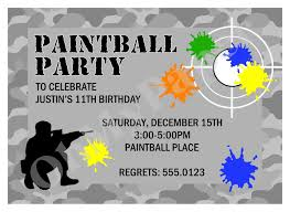Invitation Card On Birthday Paintball Party Invitations Theruntime Com