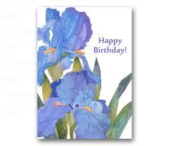 happy birthday card irises springtime flowers also