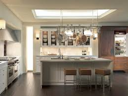 Kitchen Island Montreal Mahogany Wood Light Grey Raised Door Kitchen Island With Pot Rack