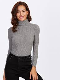 fitted sweater rolled neck ribbed knit fitted sweater shein sheinside