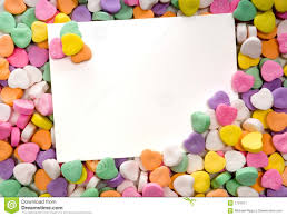 valentines hearts candy blank note card surrounded framed by candy hearts stock image