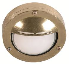 brass step light with hood for interior or exterior use waterproof