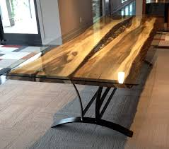 Raw Edge Table by On The River Steel Root Furniture Modern Wood And Metal