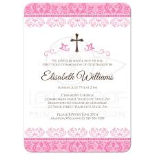 confirmation invitation pink damask holy communion confirmation invitation