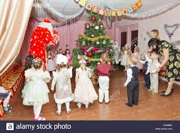 new year celebration in russian kindergarten with ded moroz stock