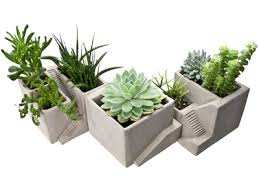 concrete architectural style planters relique