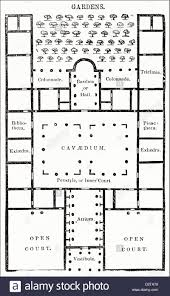 Roman Floor Plan by Plan View Of Roman Villa From Vitruvius Victorian Woodcut