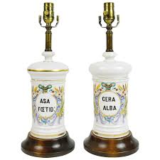 Apothecary Table Lamp by Pair Of French Vintage White And Rose Hand Painted Porcelain Table