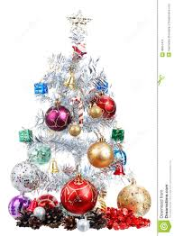 white christmas tree decorated with many presents stock photo