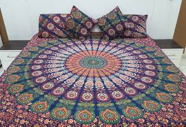 Peacock Feather Comforter Set Dark Blue With Orange Pink Peacock Feather Mandala Bedding Sets