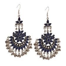 dangler earring buy zephyrr blue oxidized silver afghani tribal dangler earring