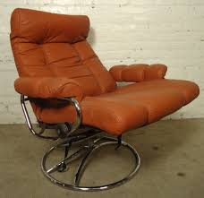 Swedish Leather Recliner Chairs Mid Century Reclining Chair And Ottoman By Ekornes Stressless For