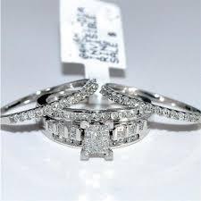 princess cut wedding set wedding set 3pc engagement ring 2 wedding bands princess cut