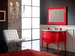 awesome bright red vintage vanity painted with white chandelier