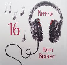 white cotton cards handmade nephew 16 happy birthday headphones