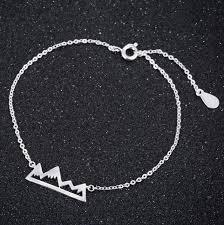 silver chain link charm bracelet images Shuangshuo boho snow mountain bracelets bangles mountain cuff jpg