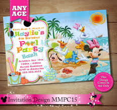 mickey mouse clubhouse birthday invites minnie mouse beach invitation minnie mouse pool party
