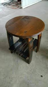 Whiskey Barrel Kitchen Table End Table With Whiskey Barrel Stave Legs And Shelf