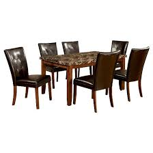marble dining room sets iohomes 7pc faux marble dining table set wood antique oak target