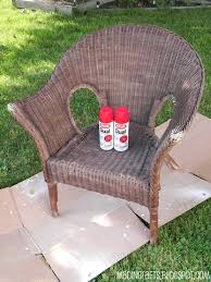 krylon dual repainting a wicker chair