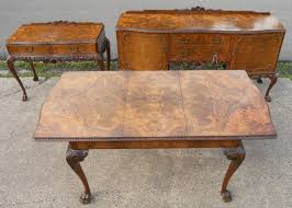 queen anne style burr walnut carved dining room suite