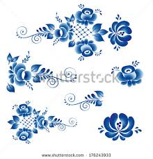 russian gzhel ornaments patterns stock vector the set of