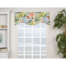 the island breeze shaped valance features a cotton construction