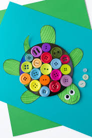 colorful upcycled cd and button turtle craft for kids turtle