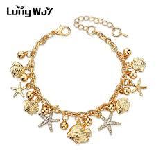 star bracelet charm images Online shop longway design gold color charm bracelets bangles jpg