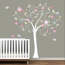 White Tree Wall Decal For Nursery Baby Room Wall Sticker For Baby Nursery Released In White