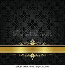 black and gold ribbon black floral pattern gold ribbon seamless small black vector