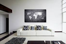 Large World Map Canvas by Silver Black World Map Canvas Print Wall Decor World Map