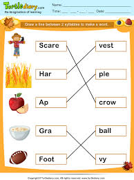 match two syllables thanksgiving words worksheet turtle diary