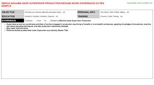 Production Supervisor Job Description For Resume by Machine Shop Supervisor Production Resume Sample