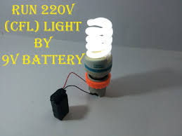 run 220v cfl light bulb using 9v battery
