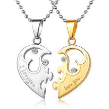 Custom Heart Necklace Jewels Couples Necklaces Half Heart Necklaces Conencting