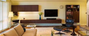 mid century modern and designed built ins inspired by mid century design period furniture artwork and accessories added the finishing touches to this home which is ready