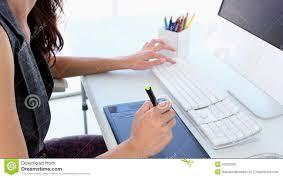 Graphic Designer Desk Graphic Designer Working On Digitizer At Her Desk Stock Footage