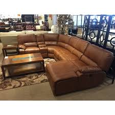 libby transitional style reclining light brown sectional in bonded