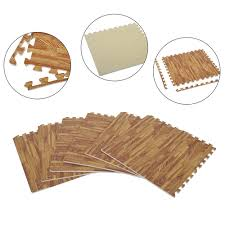 buy wood homcom soft wood grain foam interlocking floor mats 72 square