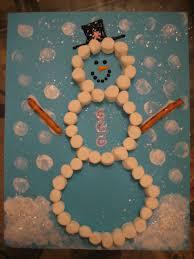 winter craft marshmallow snowman construction paper pretzels