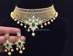 plated choker necklace images Gold plated choker set with green stones south india jewels jpg