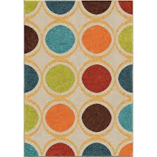 Area Rugs 6 X 10 Orian Rugs Color Circles Ivory 7 Ft 8 In X 10 Ft 10 In Indoor