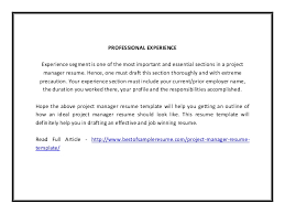 Resume Outline Pdf Project Manager Resume Template Pdf