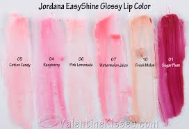 pink color shades valentine kisses jordana easyshine glossy lip color