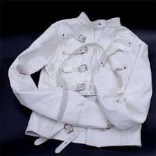 halloween costume white button up shirt white asylum patient straight jacket halloween costume unisex sm