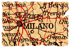 Italy On Map Milan Italy On An Old Torn Map From 1949 Isolated Part Of